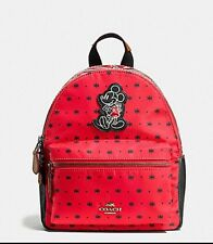 New Coach Disney Red Mini Charlie Backpack Mickey Mouse- Bandana Print F59831