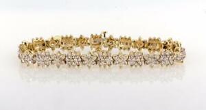 Diamond-Floral-Link-Ladies-Bracelet-14K-Yellow-Gold-6-60-CTW-Round-Diamonds-7-5-034