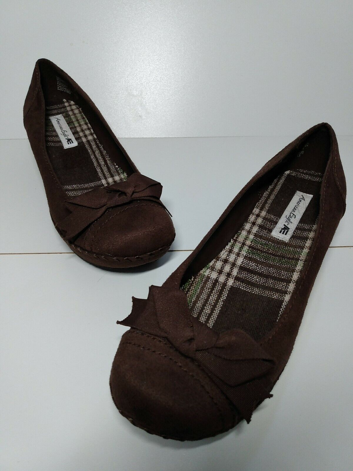 American Eagle Outfitters Womens Classic Pump Wedge Heels Shoes Brown Bow 7.5