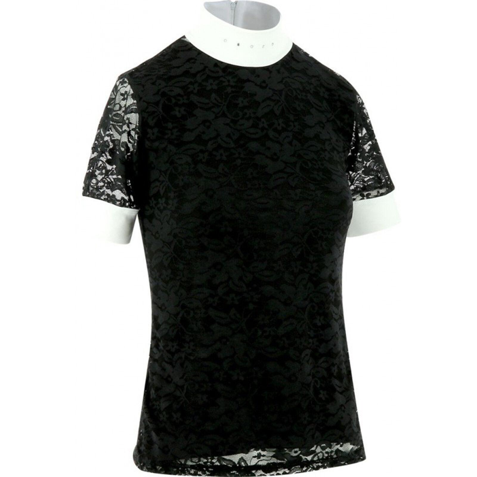Equi Theme Turniershirt Dentelle 2-teilig edle Spitzen black und white