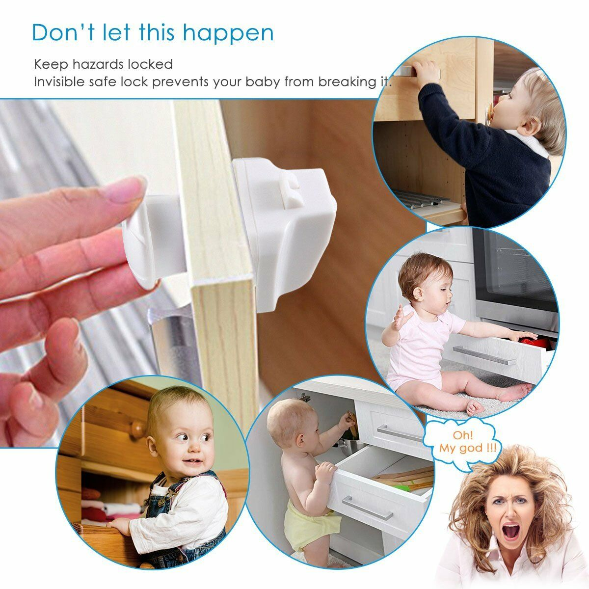 10PCS Magnetic Cabinet Drawer Cupboard Locks for Baby Kids Safety Child Proofing 2