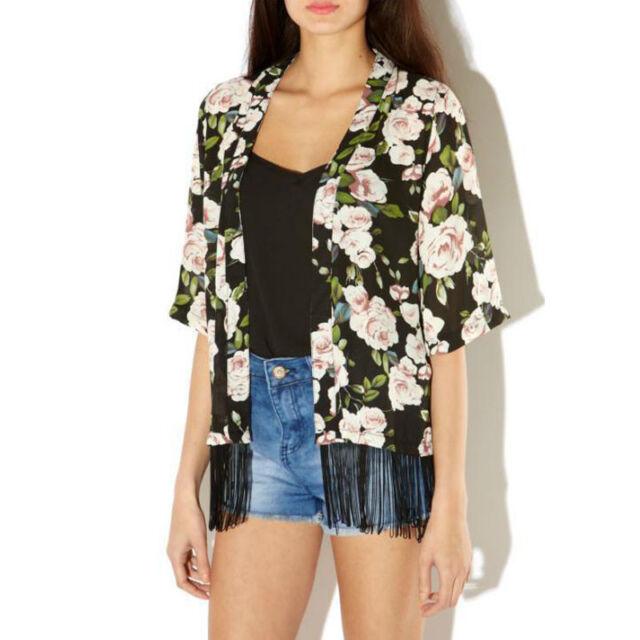 Sexy Women Blouse Vintage Printed Half Chiffon Kimono Cardigan Coats Tops Jacket