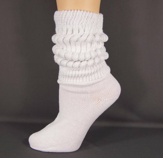 White thick heavy cotton slouch slouchy scrunch womens ladies boot socks 9-11