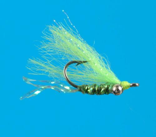 6 pcs size 8 Chartreuse Gotcha shallow