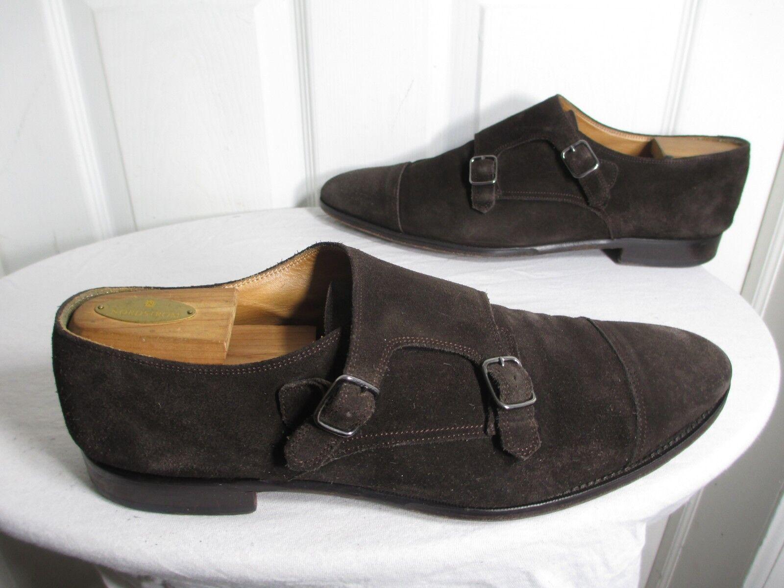 Suitsupply Doble Monje Correa Gamuza Marrón Para Hombres Zapatos nos 13 Hecho en Italia