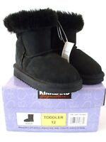 Kirkland Kids Shearling Boots Size Todd 12 Black Suede Winter Fast Shipping
