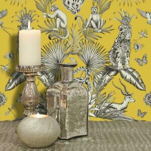 SincèRe Belgravia Floral Jaune Papier Peint Imprimé Animal Léopard Babouins Arbres Feuilles Jungle-afficher Le Titre D'origine
