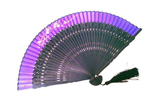 Hand Painted with Laser Carved Frame Bamboo Hand fan with Plum FlowerFlower