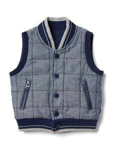 fb92492f5edba2 Baby Gap Boys Navy Blue Sleeveless Quilted Chambray Vest Jacket NWT ...