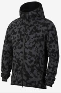 Men-039-s-Nike-Tech-Fleece-Full-Zip-Hooded-Jacket-Black-Gray-Camo-CJ5975-010-Size-Sm