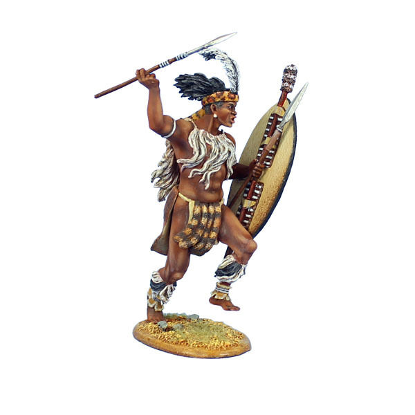 Första legionen  ZUL025 iNgobachosi Zulu Warrior Charging with Spear and Shield