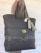 Coach Legacy XL Graphite Gray Luxe Grain Business Weekend Multi-use Tote 26477