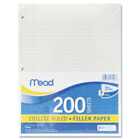 Mead Filler Paper 15lb College Rule 11 X 8 1/2 White 200 Sheets 17208 on sale