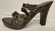 """Gabriella Rocha """"Mariel"""" Green Leather Sandals Classic w/buckle Sz 8M"""