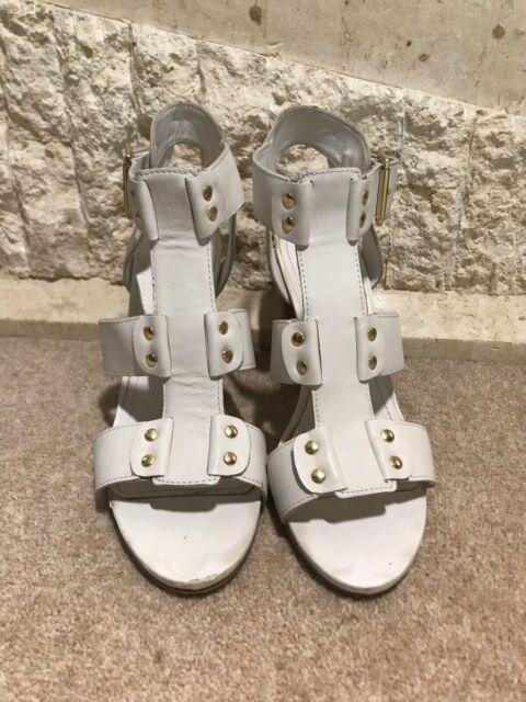 9add3dc560c Steve Madden Ladies White Leather Block Heel Sandals EU 40 UK 7 US 9
