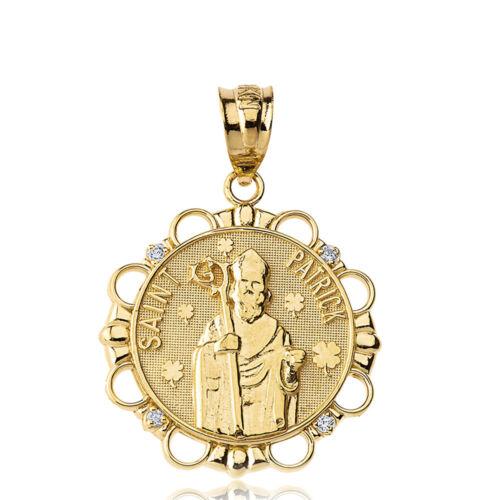 "Details about  /Solid 10k Yellow Gold Diamond Religious Saint Patrick Circle 1/"" Pendant Necklace"