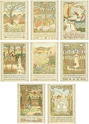 Vintage country poetry romantic Pastoral Art Nuoveau cards set 8 with envelope