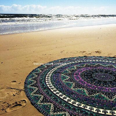 "46"" Round Mandala Cotton Bohemian mandala Tapestry Beach Star Throw Rug A3"