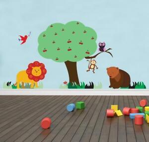 Safari-Jungle-Cartoon-Animals-Wall-Sticker-Decal-Art-Mural-For-Kids-Nursery-WC82