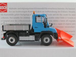 Busch-50923-Mercedes-Benz-Unimog-u-430-2013-con-spitzpflug-1-87-h0-nuevo-en-el-embalaje-original