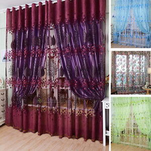 Image Is Loading Thermal Blackout Voile Door Window Curtains Ring Top