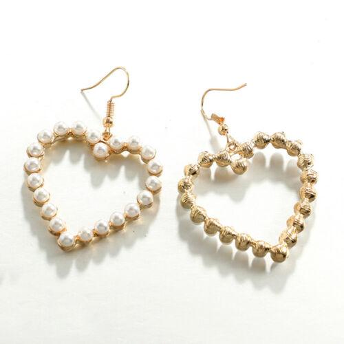 Élégant Femmes Fille Pearl Love Heart Drop Dangle Crochet Boucles D/'Oreilles Mariage Bijoux