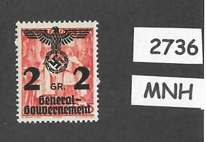 MNH-stamp-2-Gr-1940-Overprint-Third-Reich-Germany-General-Government-Poland-WWII