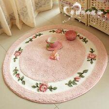 Elegant Round Rug,Sweet Pink Rose Print Korean Mat,Retro Style Carpet 4 colors