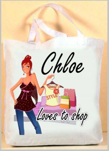 GIRLS SHOPPING SHORT RED HAIR PERSONALISED LADIES LONG HANDLED TOTE BAG