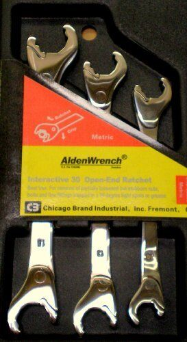 NEW Alden Wrench 56039 Double Head Ratching Open-End Wrench 3 Piece Set Metric