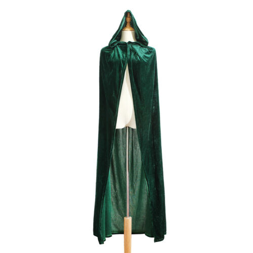 Medieval Velvet Hooded Cloak Halloween Witchcraft Larp Capes Wicca Long Robe