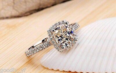 Size 5-10 925 Sterling Silver Filled Gems 6MM  White Topaz Women Wedding Ring