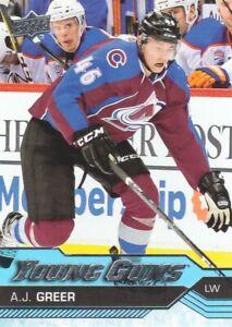 2016-17-Upper-Deck-Hockey-516-A-J-Greer-YG-RC-Colorado-Avalanche