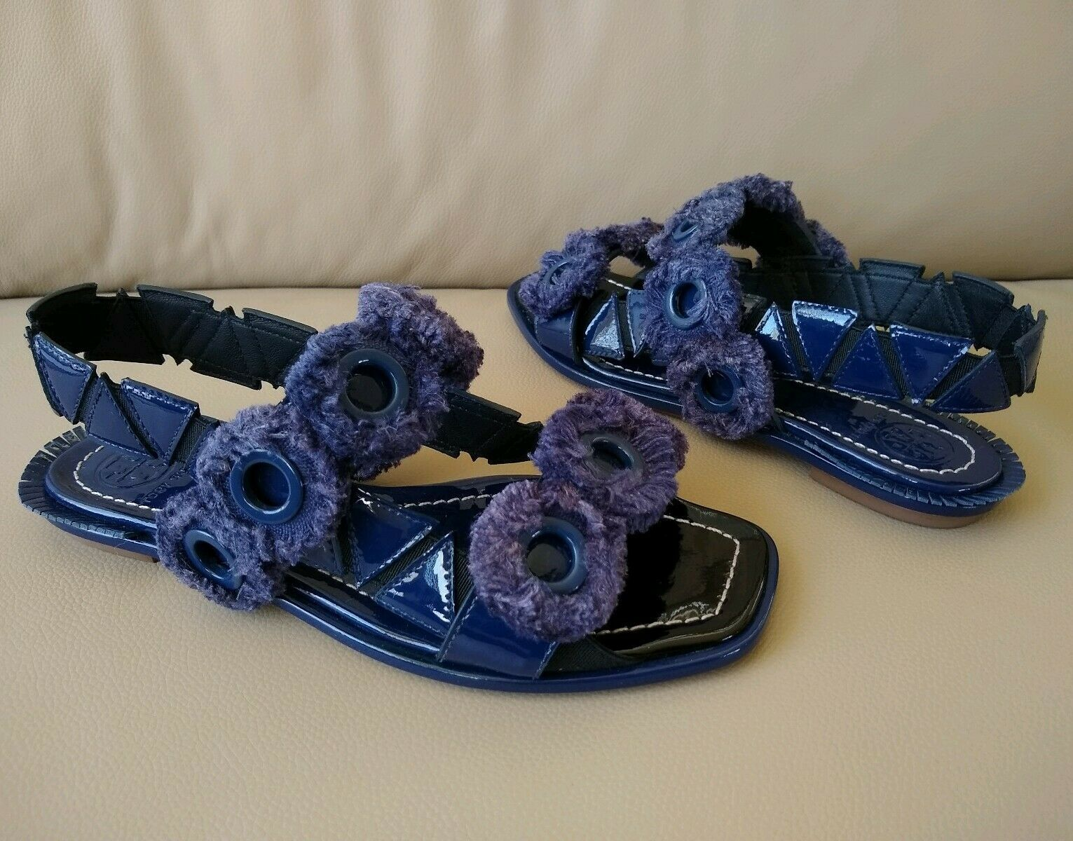 TORY BURCH FREYA Eyelet Flat Flat Flat Sandals bluee Patent Leather Sz 10.5, 6 dba019