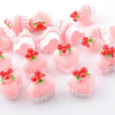 15/60pcs Resin Flatbacks Birthday Cakes / Strawberry & Cream & Chocolate B0311