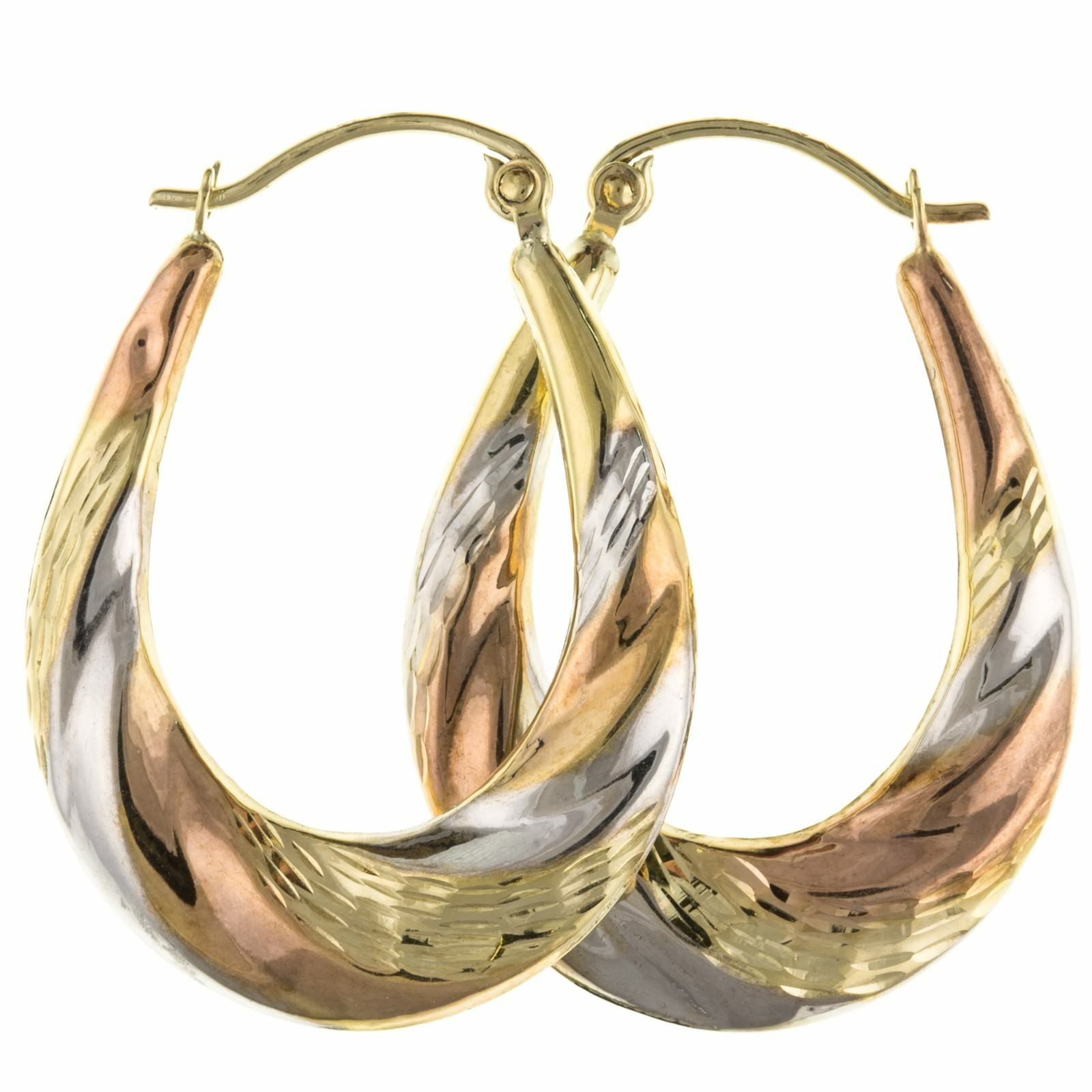 3 Tone 9ct Tri gold Large Oval Creole Hoop Earrings Jewellery