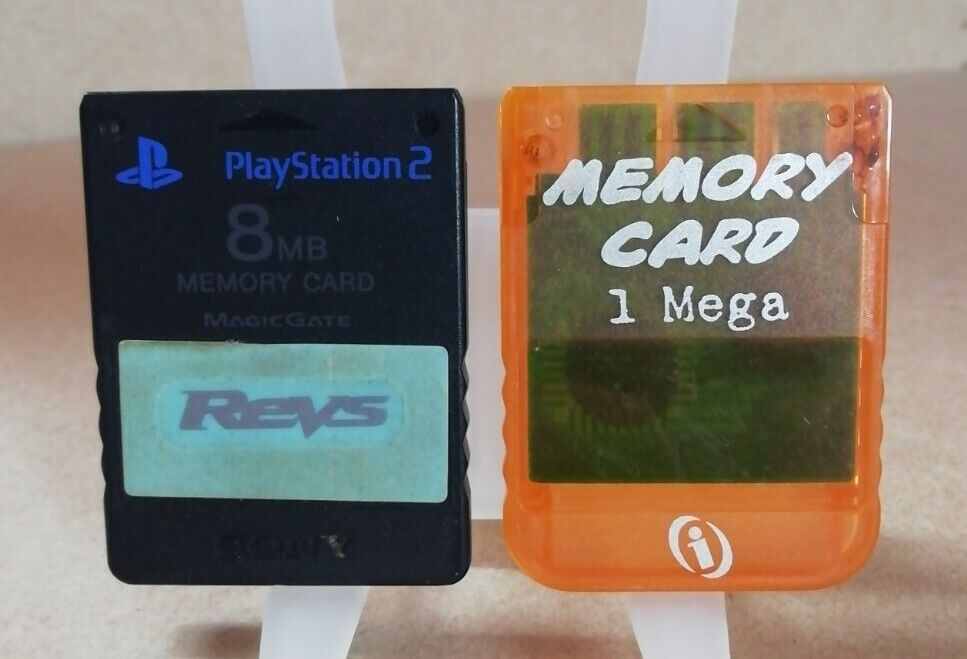 1x Official Playstation 2 PS2 Memory Card & 1x PS1 Transparent Clear orange 1MB