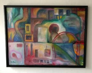 Paul-Klee-Inspired-Oil-Painting-Original-By-Melissa-Bollen-Framed-Abstract-Blue