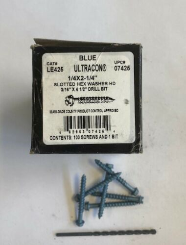 "ULTRACON 1//4/"" X 2-1//4/"" SLOTTED HEX WASHER HEAD MASONRY FASTENERS BLUE BX OF 100"