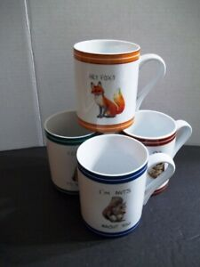 Wildlife Coffee Mugs Cups Set Of 4 Squirrel Owl Fox And Bear With Cute Sayings Ebay