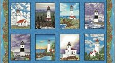 Lighthouse Wonders Cotton Quilt Fabric by Blank BTP 8 Lighthouse Blocks Panel