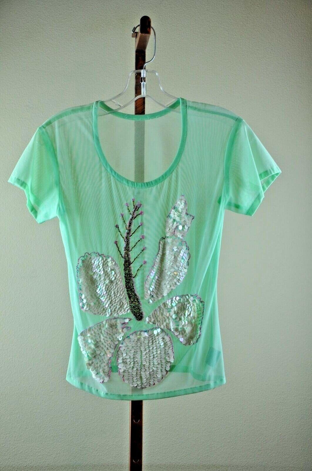 La Perla Mesh Cover Up  Embellished  Mint Tee Short Sleeve L