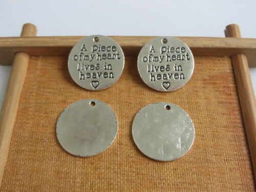 10PCS Antique Silver Round Carving Letters Charm Pendants DIY Jewelry Findings