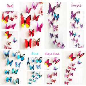 3D Schmetterlinge Blumen 12//18er Set Dekoration Wandtattoo Wandsticker Wanddeko