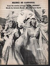 Manha de Carnaval 1959 Black Orpheus Sheet Music