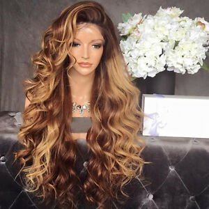 Image Is Loading Balayage Blonde Brazilian Real Human Hair Wigs Brown