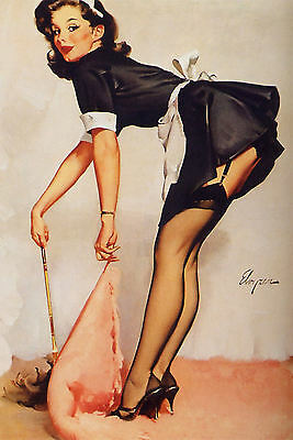 Framed Print - G Elvgren Pin Up Girl in Maids Outfit Cleaning (Picture Poster)