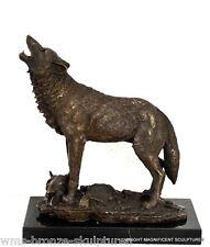 Wolf in Bronze signiert auf Marmorsockel Bronzefigur Bronzeskulptur Statue