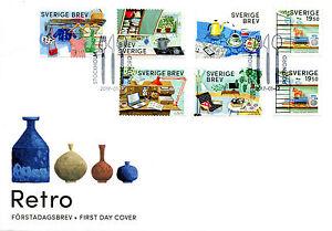 Sweden 2017 FDC Retro String Shelf 6v S/A + 1v Set Cover Stamps
