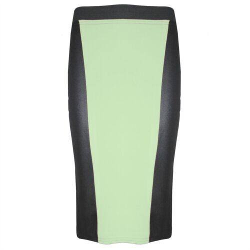 Womens PVC Wetlook Panel Ladies Basic Plain Pencil Tube Long Bodycon Midi Skirt
